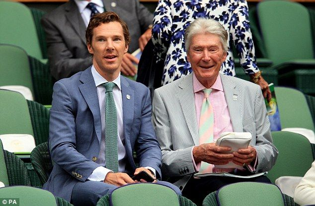 Benedict Cumberbatch and Timothy Carlton at Wimbledon ahead of the Men's Singles final, July 12, 2015.