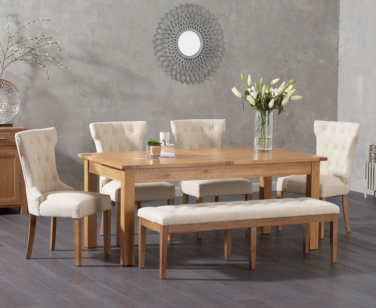 Somerset 180cm Oak Extending Dining Table With Camille Fabric