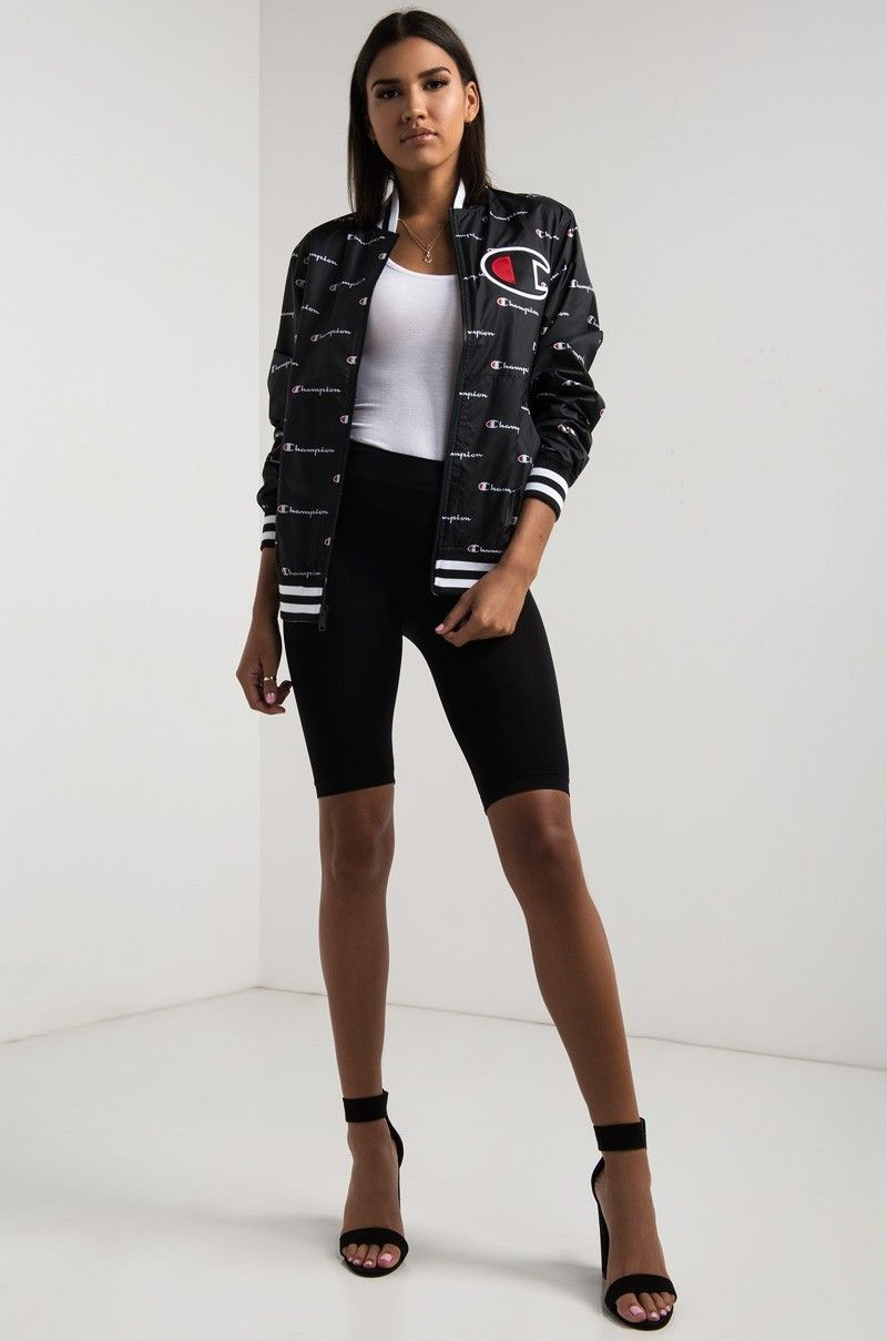 Full View Champion Satin Baseball Jacket In Champion Script Black Baseball Jacket Jackets Teenager Outfits