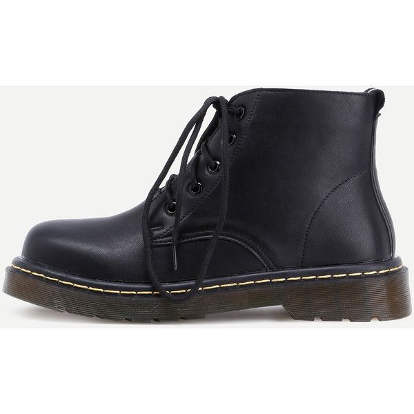 fcb7483650 Black Round Toe Lace Up Ankle Boots ($43) ❤ liked on Polyvore featuring  shoes, boots, ankle booties, black, ankle boots, black boots, low heel  ankle boots, ...