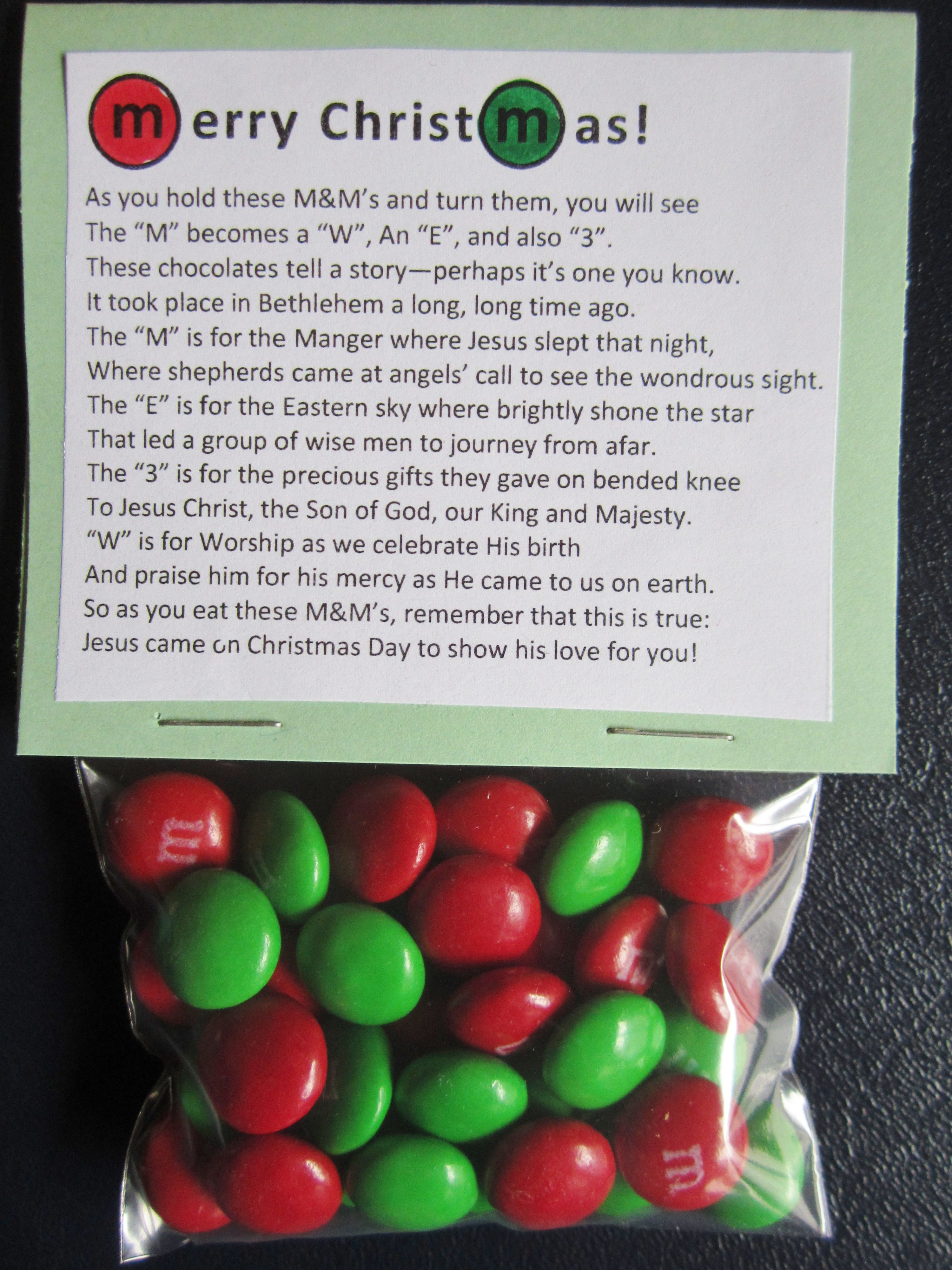 Christmas M&M Poem   Christmas Crafts and Favor Ideas ...
