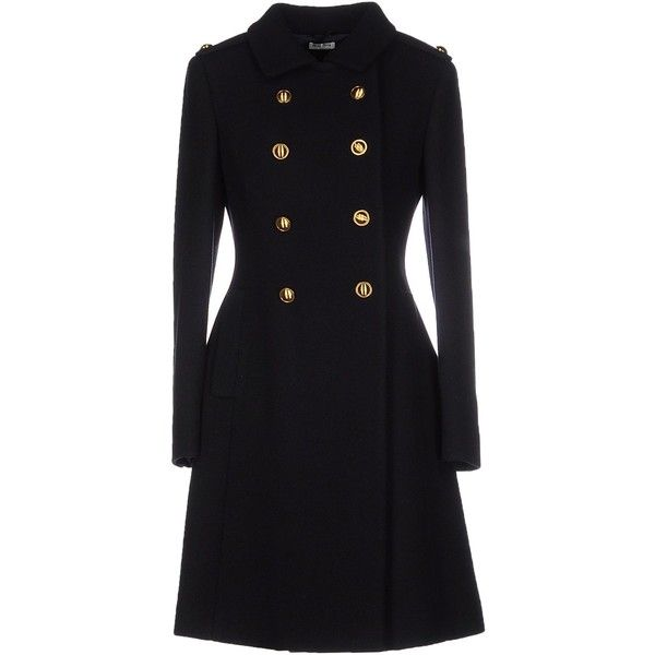 Miu Miu Coat (5.712.310 COP) ❤ liked on Polyvore featuring outerwear, coats, black, flannel coat, long sleeve coat, double breasted coat, miu miu and miu miu coat