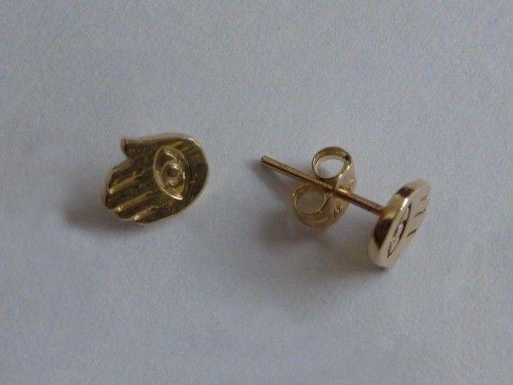 14K Gold Hamsa Post Earrings