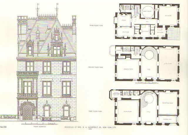 New York Townhouse Floor Plans | 666 Fifth Ave | New York, NY. Elevation and floor plans designed (1906 ...