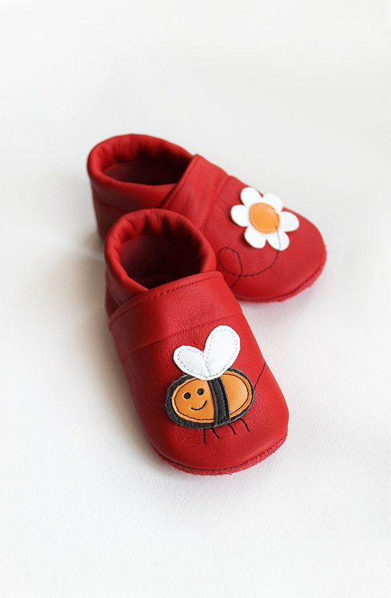 Bee Leather Baby Booties, Baby Shoes, Red Orange Flower Infant Newborn Children by Hopphopp on Etsy