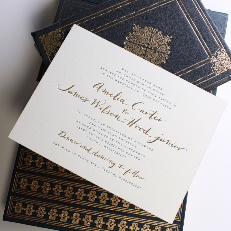 Fresh Ink  Wedding Invitation featuring gold foil and navy blue - fresh invitation card of birthday