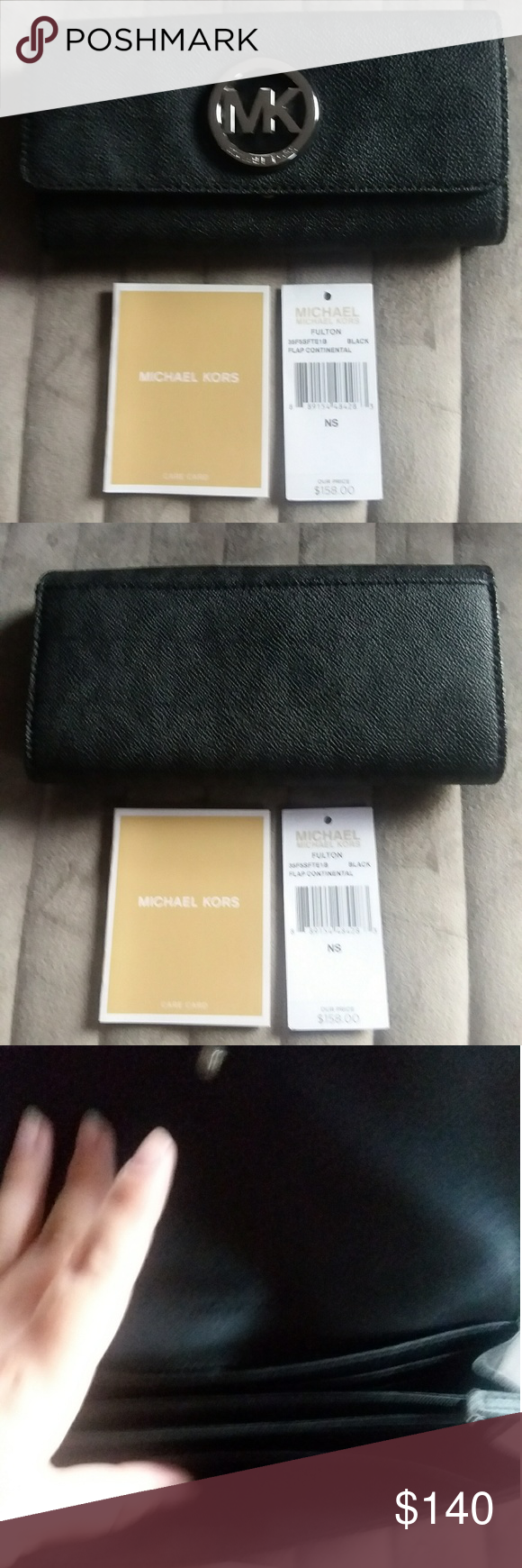 d4e6685f250b8d New with tags authentic Michael Kors wallet New with tages never used  hundred percent authentic large mk wallet leather color is black and silver  also comes ...