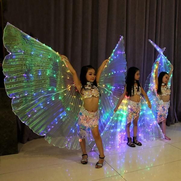 LED Isis Wings Belly Dance Cosplay Glow Show Light Up Costume Include Sticks UK