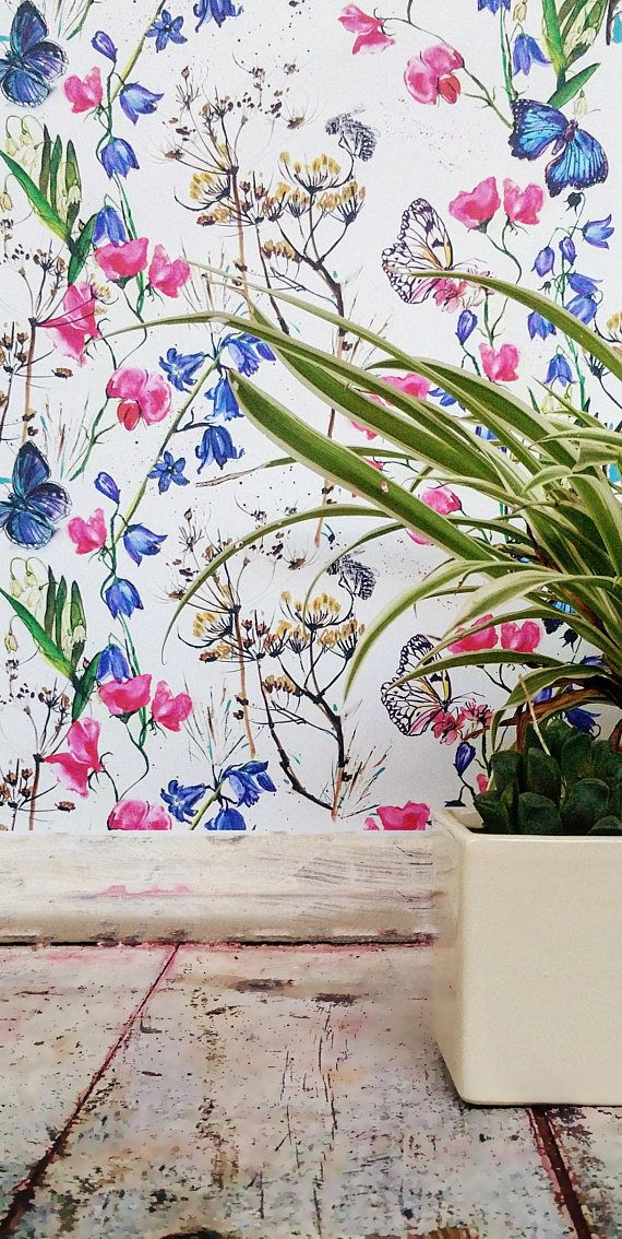 Floral Colorful Watercolor Peel and Stick Wall Paper
