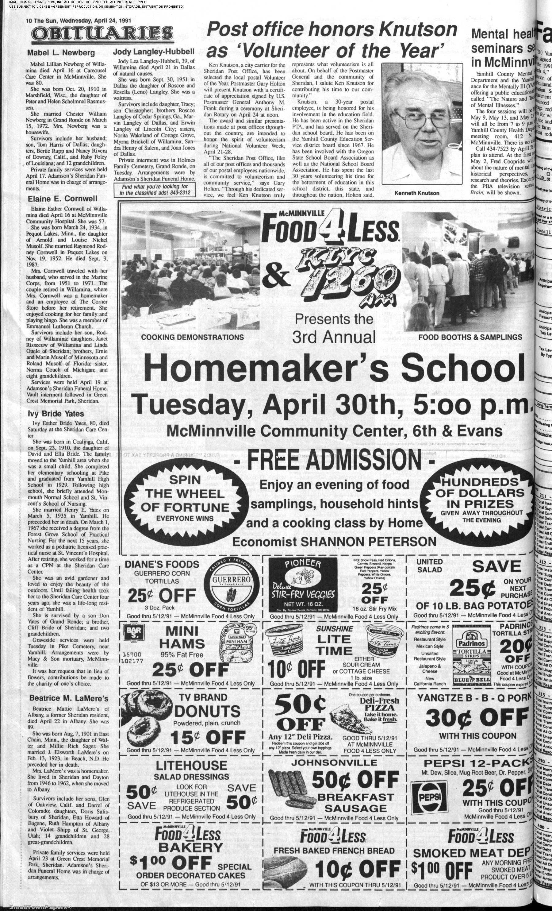 The Sun Paper April 24 1991 Page 10 Sun Paper Practical Nursing State School