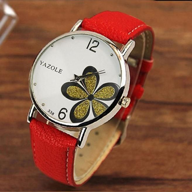 Woman Quartz Watch w/Leather Band - Flower Face - Classy meets Girlie!