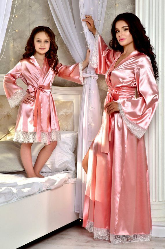 Lace Bride Robe Bridal Robes Satin Dressing Gown Blush Pink Robe Bridesmaid Dressing Gown Wedding Party Robes Wedding Dressing Gown