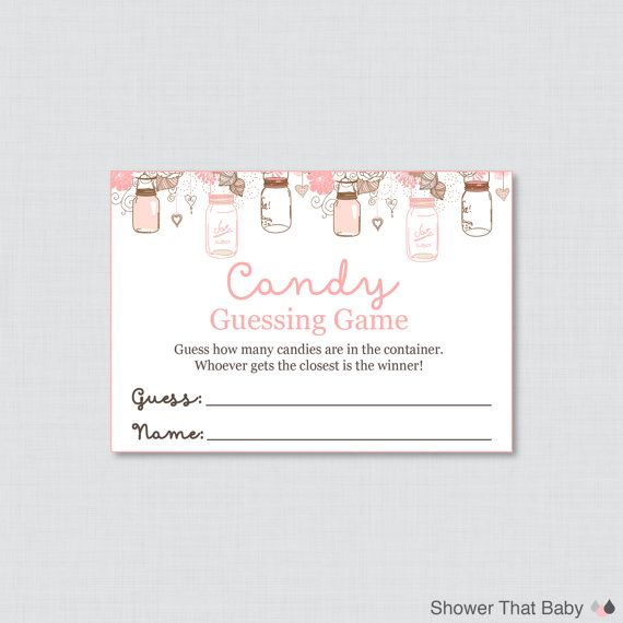 Mason Jar Baby Shower Candy Guessing Game Printable   Guess How Many  Candies, Mu0026Ms, Jelly Beans, Etc   Instant Download   Mason Jar