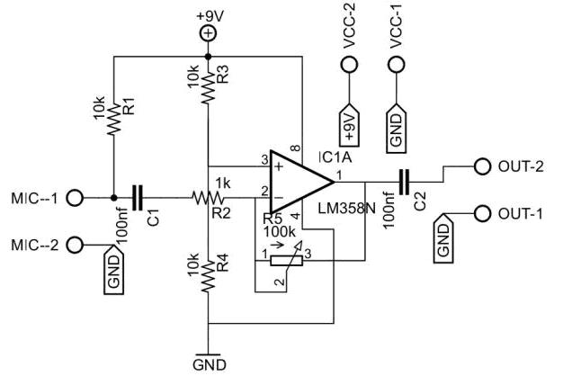 lm358d pre amplificador de microfone com lm358  circuito