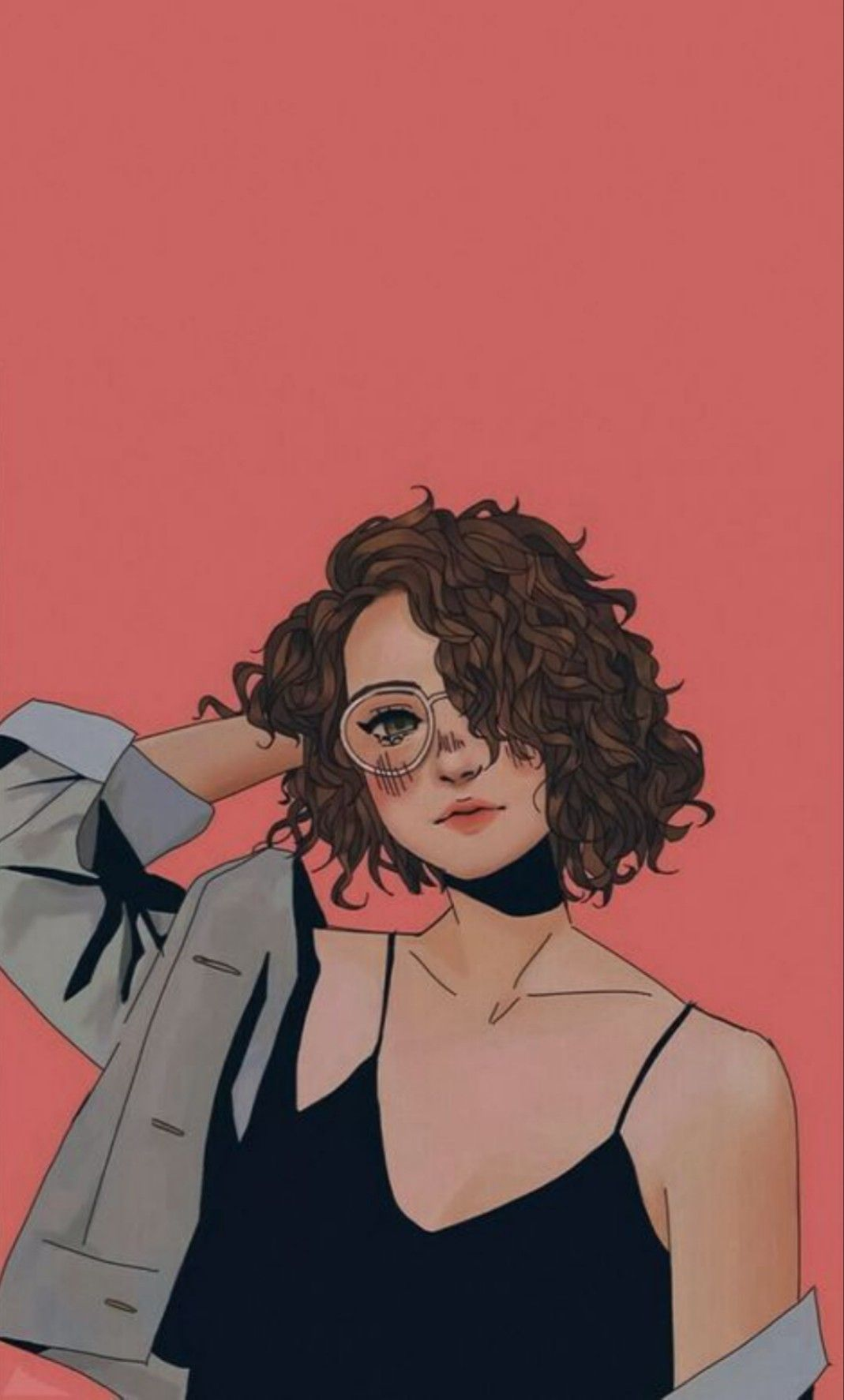 Hd Girly Wallpaper Cute Wallpaper Girl Short Hair Curly Hair Glasses Girl In 2020 Illustration Art Girl Girly Art Girls Cartoon Art