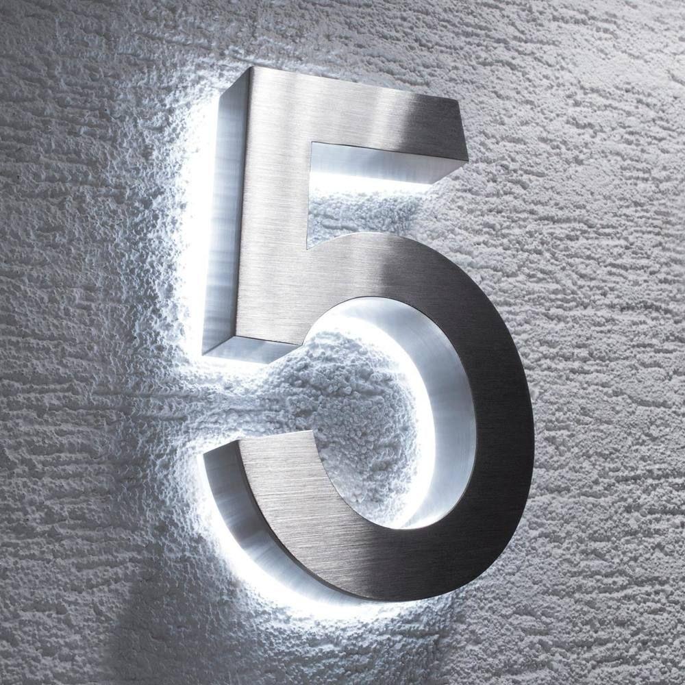 Metzler Hausnummer Edelstahl indirekte LED Beleuchtung