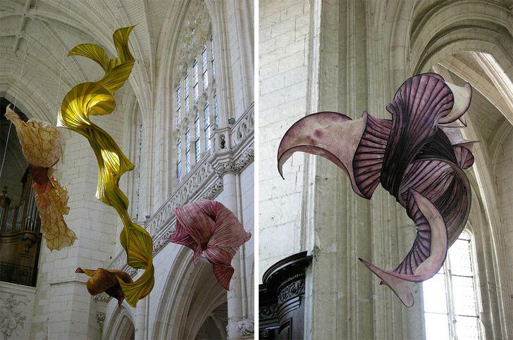 Paper Sculptures inside St. Riquier, Picardie, France | Peter Gentenaar (http://www.gentenaar-torley.nl)