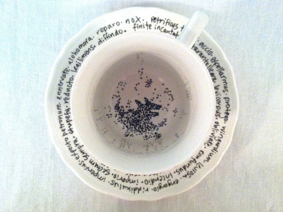 Harry Potter Grim Teacup You Need Your Inner Eye Tested Hand Painted Literary Quote Teacup And Saucer Tea Leaves