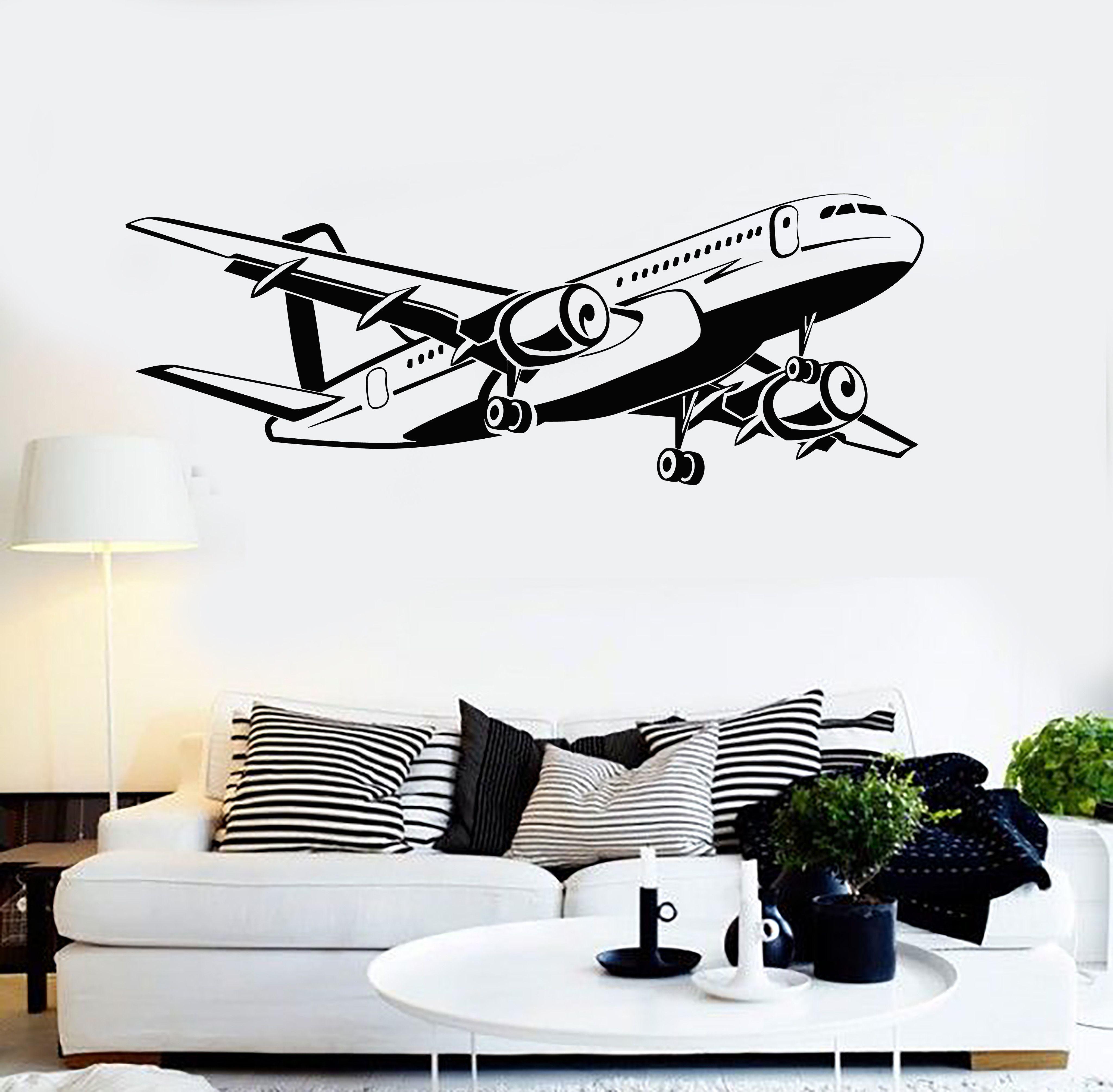Vinyl Wall Decal Aircraft Airplane Aviation Art Decorating Stickers Mural Ig5015 Aviationideas Airplane Decor Airplane Wall Art Aviation Decor [ 4018 x 4096 Pixel ]