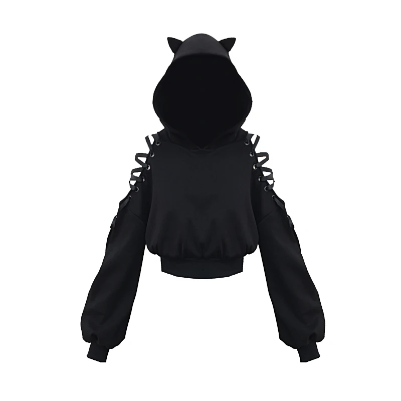 Japanese Cat Ear Sweater Yv42812 Youvimi Short Hoodie Cute Outfits Kawaii Clothes