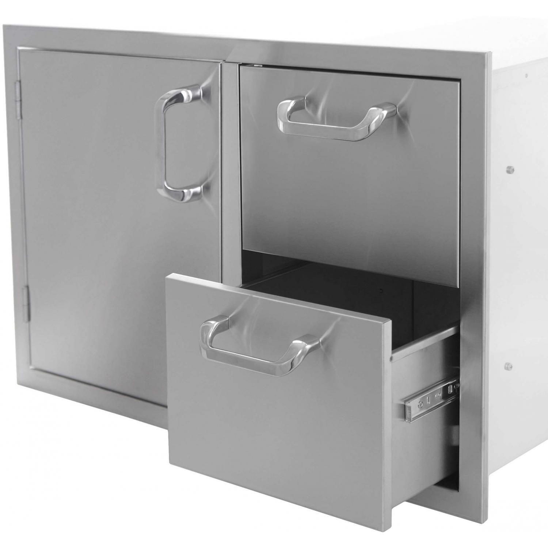 Bbqguys Signature Series 30 Inch Stainless Steel Left Hinged Access Door Double Drawer Combo Bbqguys Bbqguys Com Outdoor Refrigerator Locker Storage