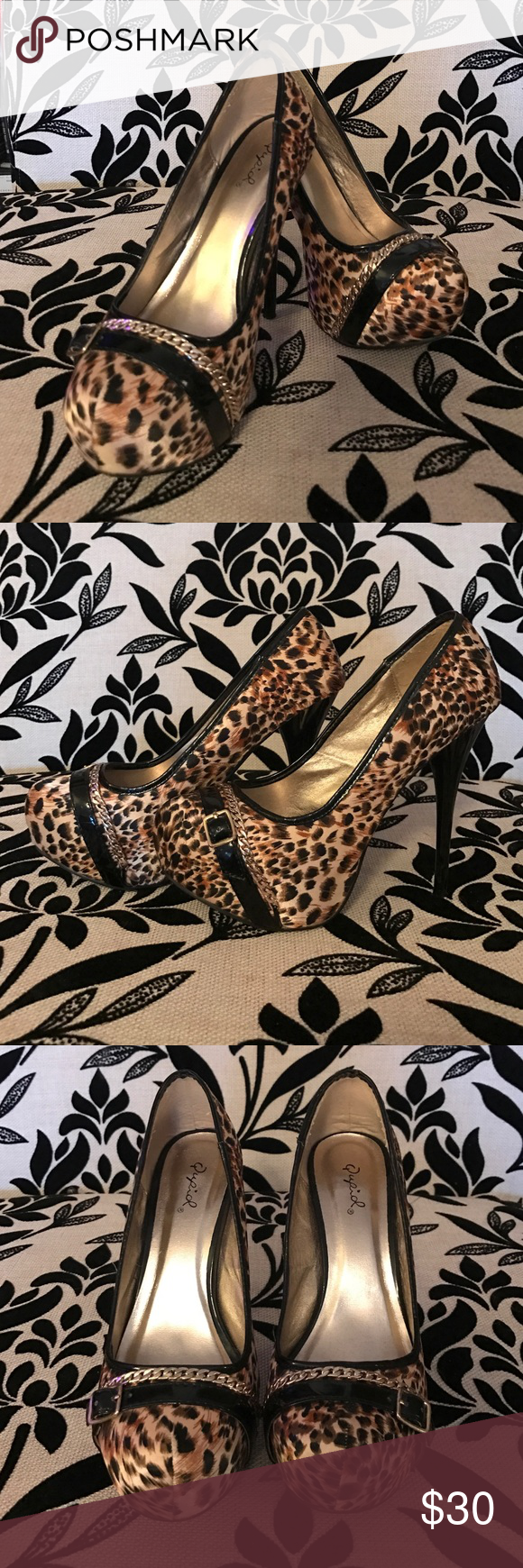 """Cheetah Print Gold Chain Buckle Stilettos EUC These shoes were worn once and only have wear on the sole (see photo).  They are otherwise in absolutely perfect condition as pictured in photo.  They are a true size 8.  The heel measures 6"""" with 1"""" platform.  Gold chain and buckle detail across toes. Qupid Shoes Heels"""