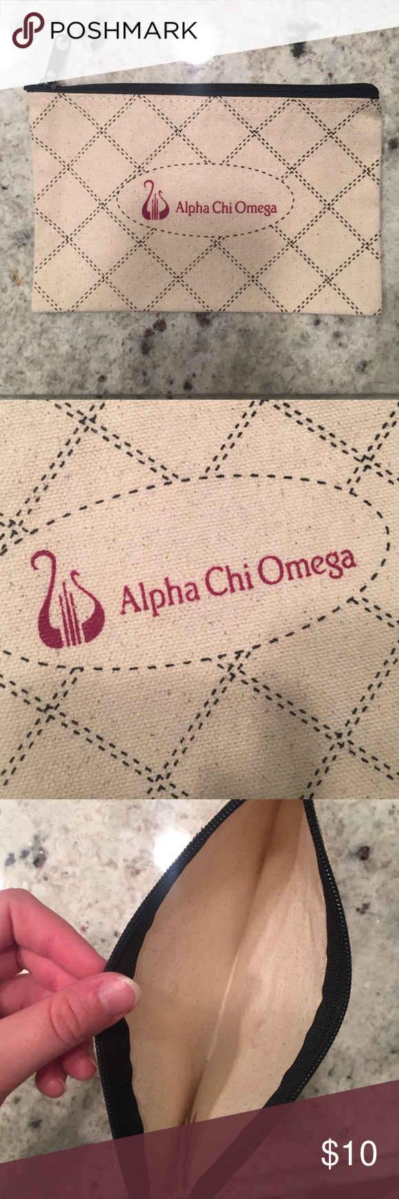 "Alpha Chi Omega zip pouch Cute Alpha Chi Omega zipperbag/pouch/makeup bag! Natural canvas/linen look outer with check print and a chi o logo in the center. Never used. Zip top. Unlined. About 8"" x 5"". Great for storing makeup, pencils, whatever you want! Bags Cosmetic Bags & Cases"