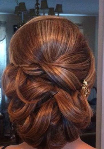 Low large curl updo