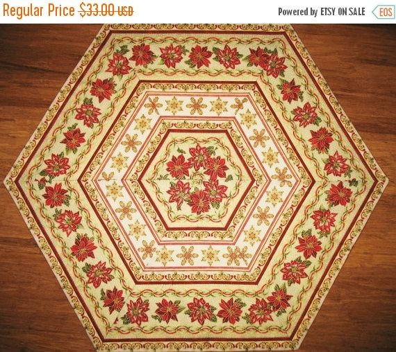 Christmas Table Topper, Hexagon, Candle Mat, Centerpiece, made from