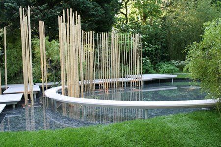 Contemporary Japanese garden design using bamboo