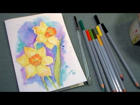 Daffodil Watercolor Pencil Tutorial | Thefrugalcrafter's Weblog