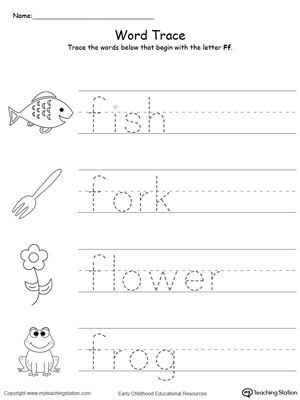 Trace Words That Begin With Letter Sound F Alphabet Worksheets Preschool Lettering Tracing Worksheets Preschool Free printable letter f worksheets for