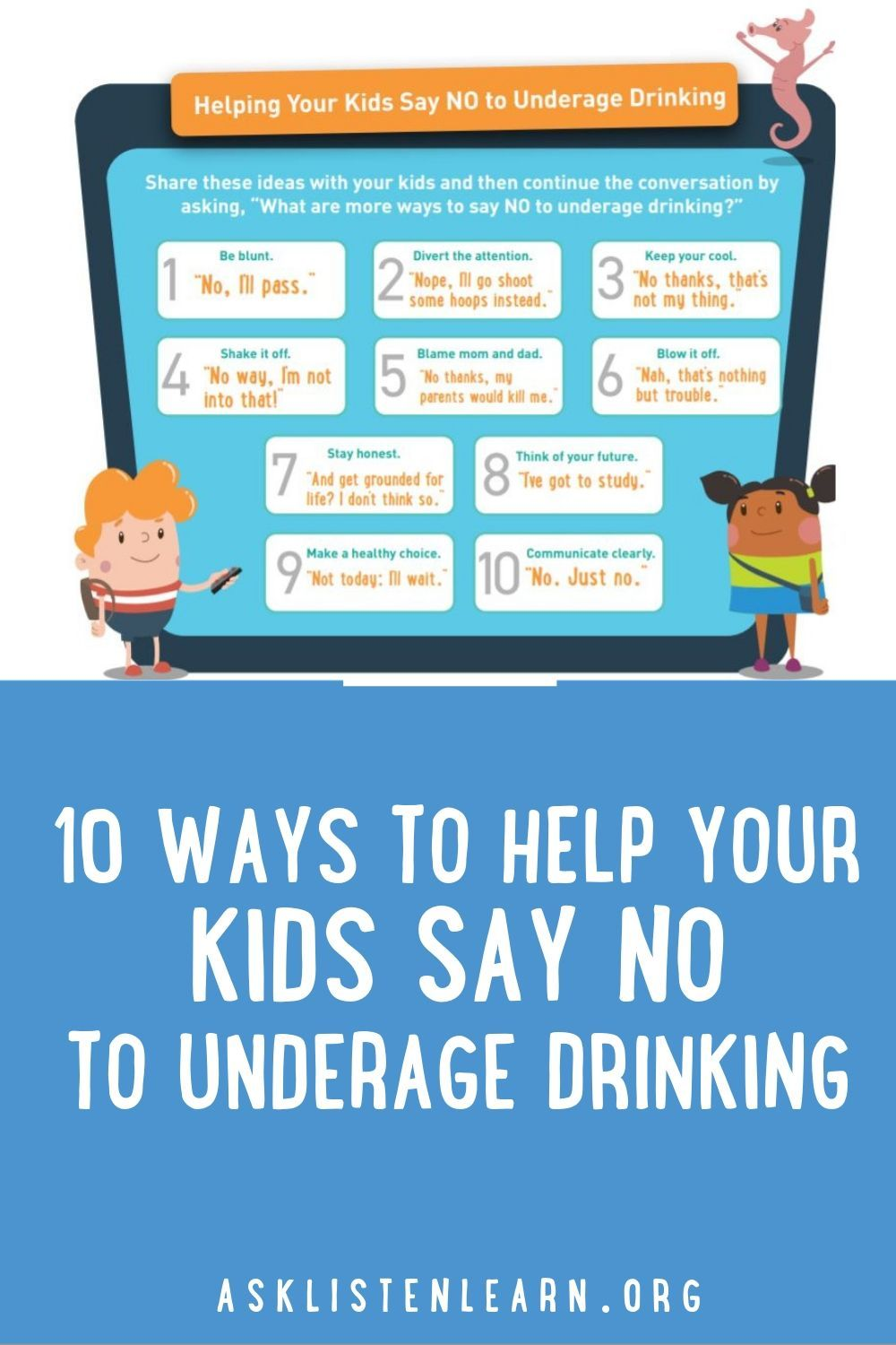 10 Ways To Help Your Kids Say No To Underage Drinking Underage Drinking Free Lesson Plans Educational Games For Kids