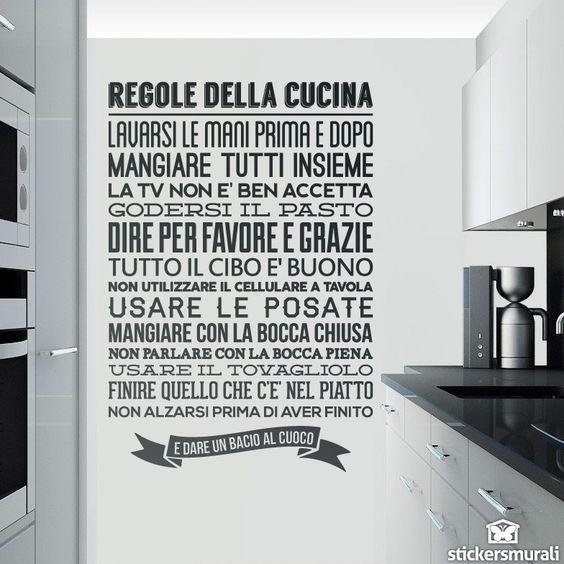 Adesivi murali regole de la cucina estudiare italiano for Adesivi cucina
