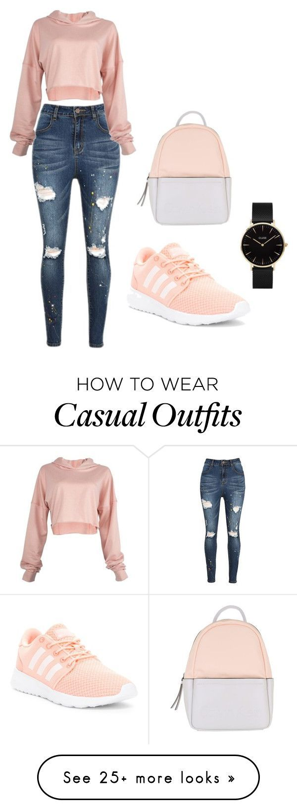 Casual by dzeraldina-muratovic on Polyvore featuring adidas, Calvin Klein and CLUSE #adidasclothes