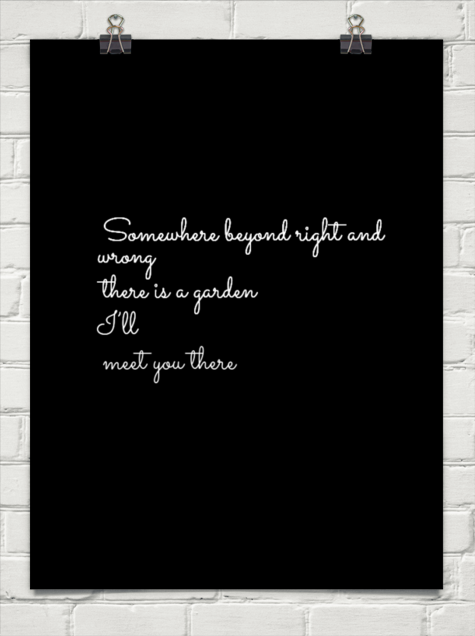 somewhere beyond right and wrong there is a garden i will meet you