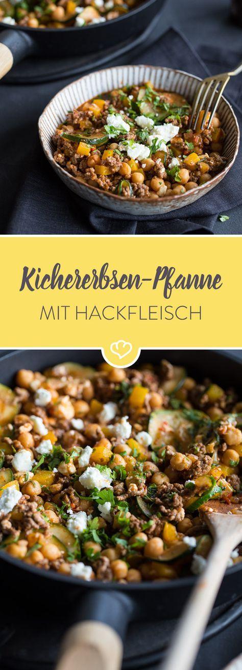 Schnelle Kichererbsen-Paprika-Pfanne mit Feta #obstgemüse