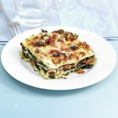 Kürbis-Spinat-Lasagne mit Ziegenkäse-Béchamel #spinatlasagne
