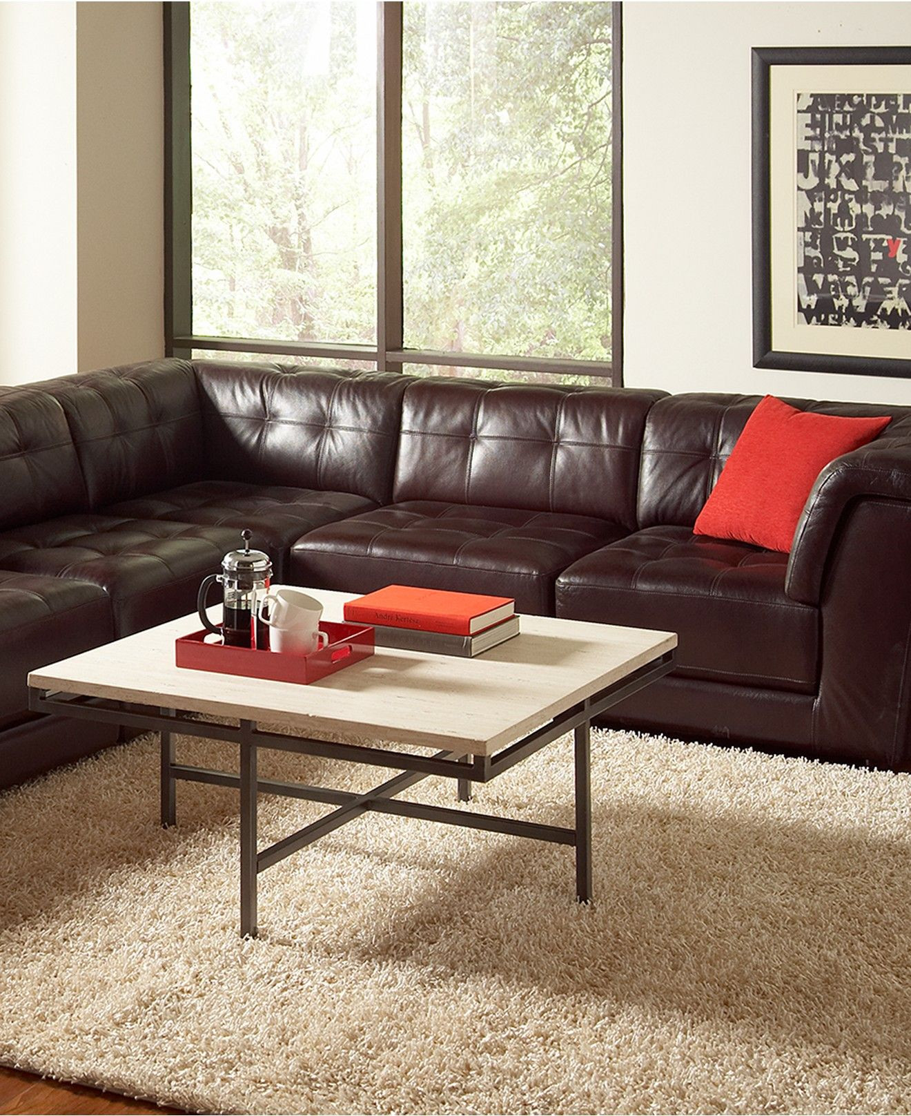 Stacey Leather 6 Piece Modular Sectional Sofa 3 Armless Chairs 2