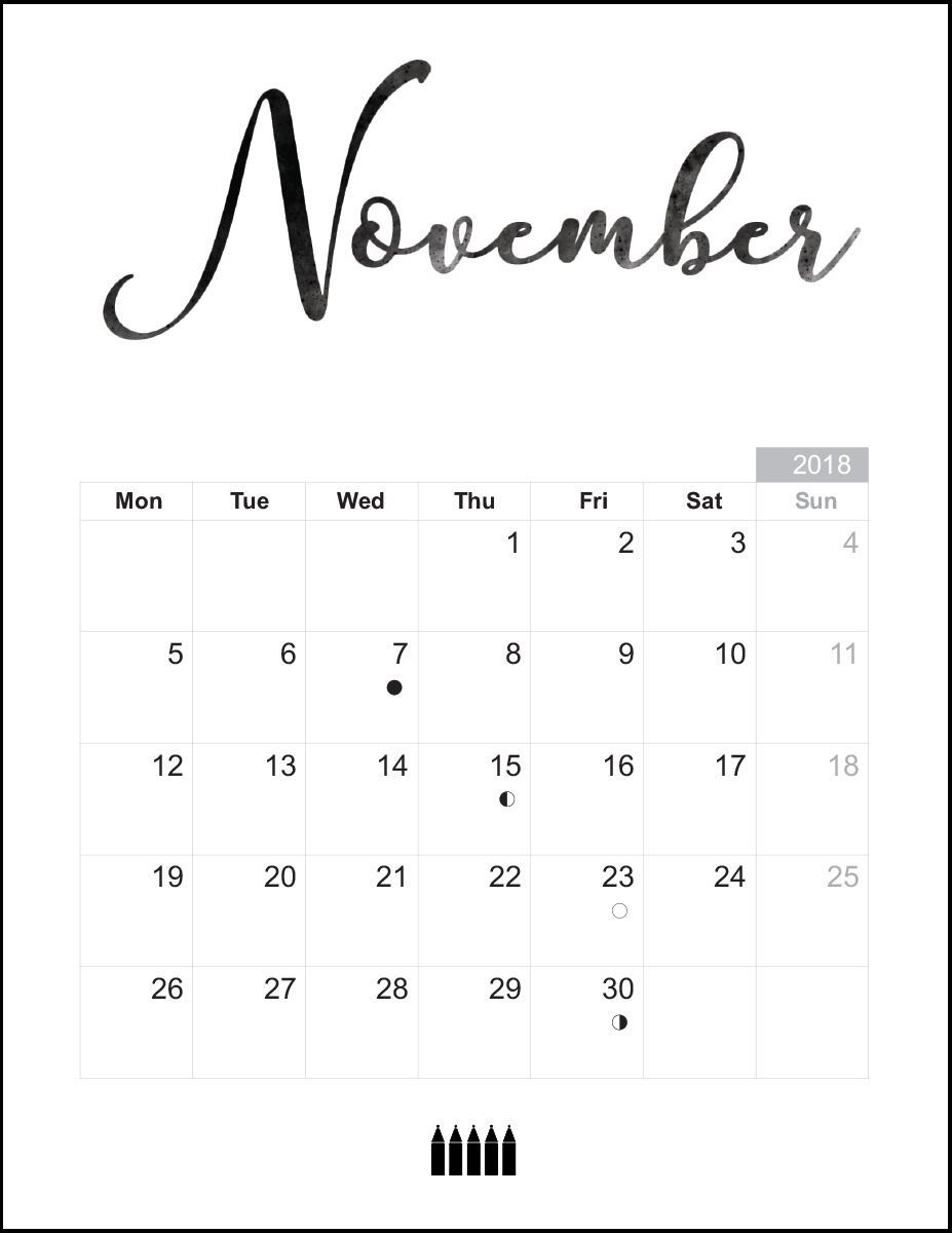 Free November 2018 Calendar