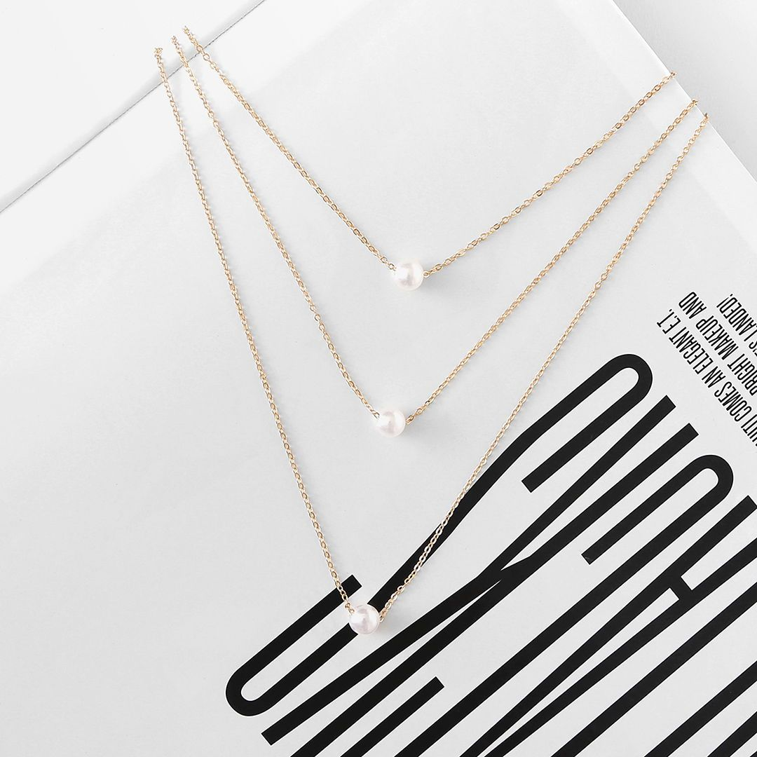 Mix & Match Faux Pearl Pendant Layered Link Necklace