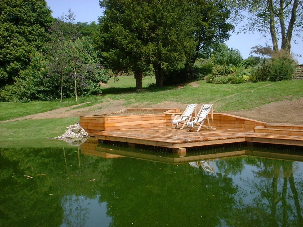 Floating deck dream home pond pinterest decking for Koi pond deck