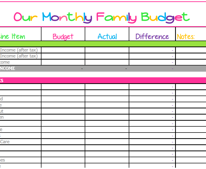 Family Finances Budget Template Excel Free Budget Template Printable Monthly Budget Template