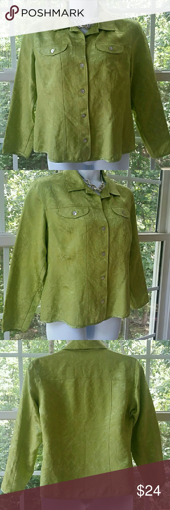 🆕Chico's Chartreuse Top or Light Jacket Size 2=L Elegant Chartreuse Green Top or Lightweight Jacket - Perfect for after work cocktails...Size 2 = L or size 12.. Chest 42 Waist 33 1/2 Hip 42...54% Rayon 15% Nylon 31% Silk - Machine Wash Cold - Gentle Cycle -Tumble Dry...Thank you for looking! Xoxoxo Chico's Tops Blouses