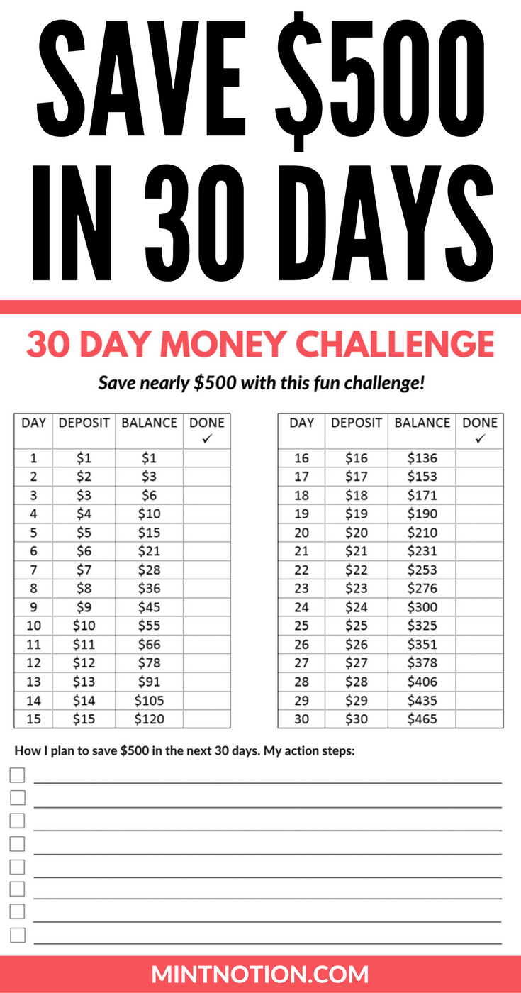 money challenge how to save 500 in 30 days save money fast with this free printable pinning this to help me save money to travel payoff debt