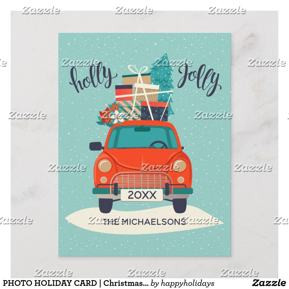 Christmas car holiday photo card