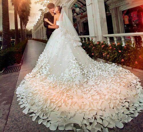 vestidos de novia corte princesa con cola larga , Buscar con Google
