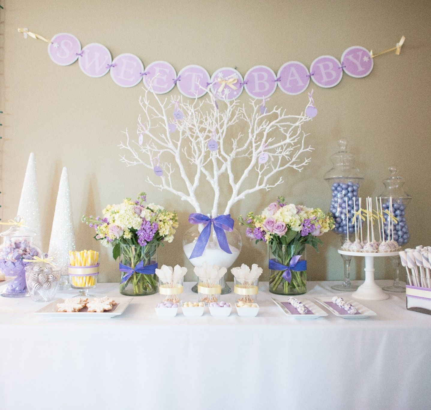 Winter wonderland themed baby shower | Sweets Table ...
