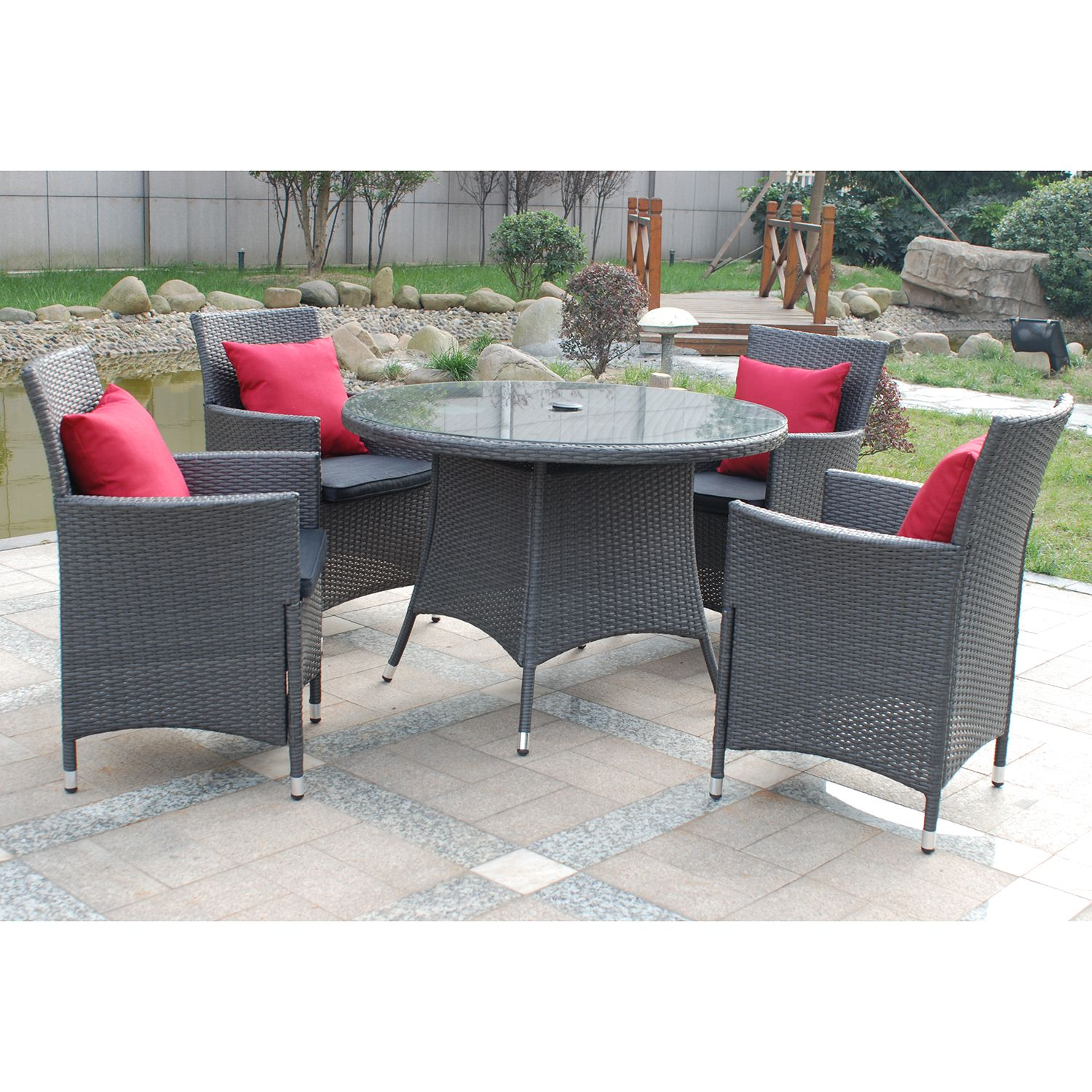 featuring a rattan weave design in graphite grey this patio dining set includes four basket weave carver arm chairs with grey seat pads to provide - Garden Furniture 4 Seater Sets