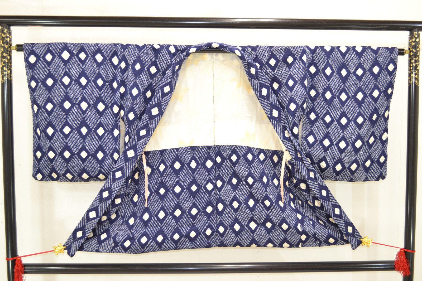 Shibori Diamonds, in Two Techniques, Rich Blue Rinzu Silk Satin: Thread-Resist Haori Kimono Jacket Tie Dye by DianesGemsAndFibers on Etsy